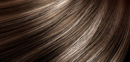 blonde streaks: A 3D render of a closeup view of a bunch of shiny straight brunette hair with highlights in a wavy curved style