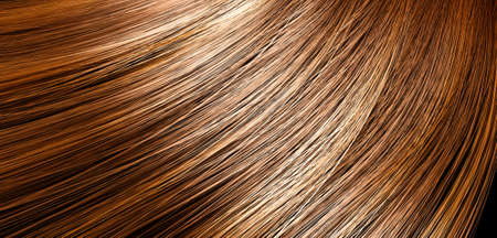 blond streaks: A 3D render of a closeup view of a bunch of shiny straight brown hair with highlights in a wavy curved style Stock Photo