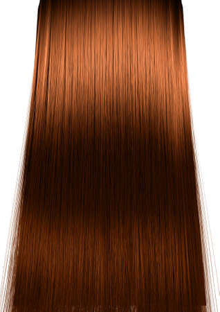 blonde streaks: A 3D render of a perfect symmetrical view of a bunch of shiny straight ginger hair on an isolated white background