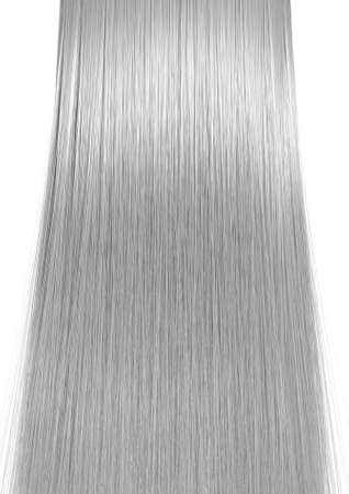 A 3D render of a perfect symmetrical view of a bunch of shiny straight grey hair on an isolated white background