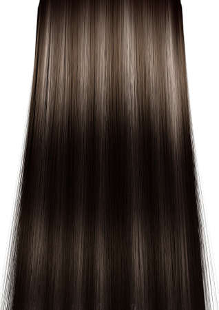 hairpiece: A 3D render of a perfect symmetrical view of a bunch of shiny straight brown hair with highlights on an isolated white background