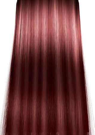 blond streaks: A 3D render of a perfect symmetrical view of a bunch of shiny straight red hair with highlights on an isolated white background