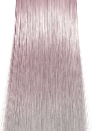blonde streaks: A 3D render of a perfect symmetrical view of a bunch of shiny straight grey hair with pink undertones on an isolated white background Stock Photo
