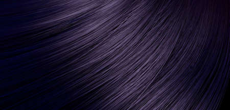 blond streaks: A 3D render of a closeup view of a bunch of shiny straight dark purple hair in a wavy curved style Stock Photo
