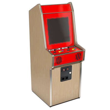 unbranded: A 3D render of a vintage red unbranded arcade machine with controls and buttons and a blank screen on an isolated white background