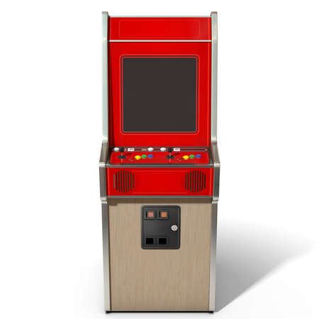 ARCADE GAMES: A 3D render of a vintage red unbranded arcade machine with controls and buttons and a blank screen on an isolated white background