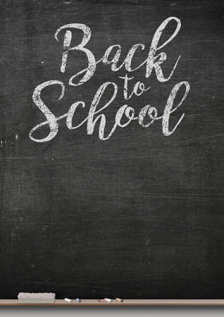 ledge: A 3D render of a rectangular black chalkboard with a metal frame with a wooden ledge chalk and a duster with the words back to school written on it Stock Photo