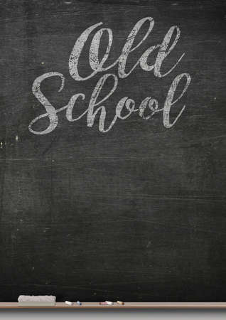 ledge: A 3D render of a rectangular black chalkboard with a metal frame with a wooden ledge chalk and a duster with the words old school written on it