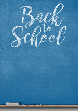 ledge: A 3D render of a rectangular blue chalkboard with a wooden ledge chalk and a duster with the words back to school written on it Stock Photo