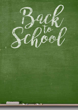 ledge: A 3D render of a rectangular green chalkboard with a metal frame with a wooden ledge chalk and a duster with the words back to school written on it