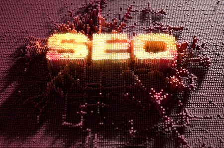 build up: A 3D render of a microscopic closeup concept of small cubes in a random layout that build up to form the acronym SEO illuminated