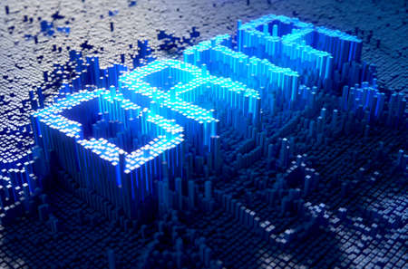 build up: A 3D render of a microscopic closeup concept of small cubes in a random layout that build up to form the word DATA illuminated