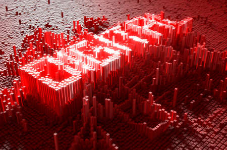 build up: A 3D render of a microscopic closeup concept of small cubes in a random layout that build up to form the word DIGITAL illuminated Stock Photo