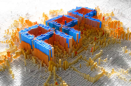 build up: A 3D render of a microscopic closeup concept of small cubes in a random layout that build up to form the word APP illuminated