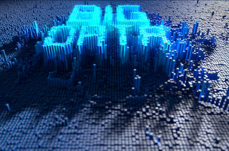 A 3D render of a microscopic closeup concept of small cubes in a random layout that build up to form the word BIG DATA illuminated
