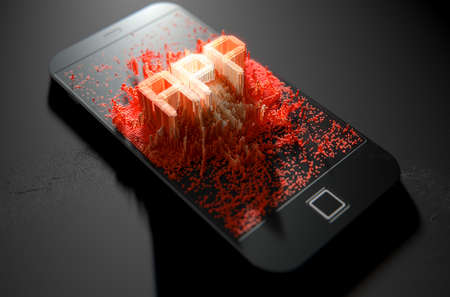 emanating: A 3D render of a modern generic smart phone screen emanating small pixels at random that build up to form and illuminate the word APP