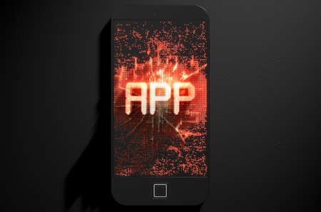 build up: A 3D render of a modern generic smart phone screen emanating small pixels at random that build up to form and illuminate the word APP