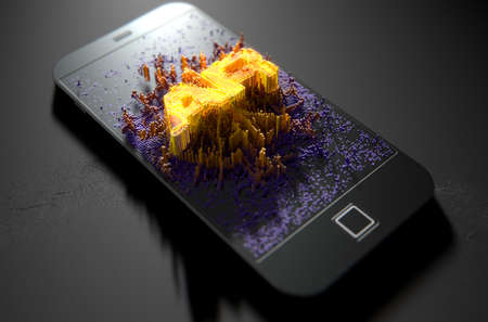 Una representación 3D de una moderna pantalla del teléfono inteligente genérico que emana pequeños píxeles de forma aleatoria que se acumulan para formar e iluminar la palabra Realidad Aumentada
