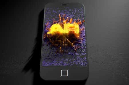 illuminate: A 3D render of a modern generic smart phone screen emanating small pixels at random that build up to form and illuminate the word Augmented Reality Stock Photo
