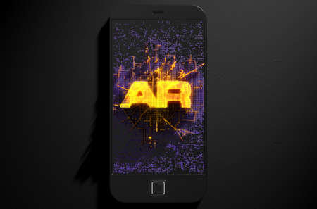 build up: A 3D render of a modern generic smart phone screen emanating small pixels at random that build up to form and illuminate the word Augmented Reality Stock Photo