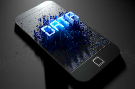 A 3D render of a modern generic smart phone screen emanating small pixels at random that build up to form and illuminate the word DATA