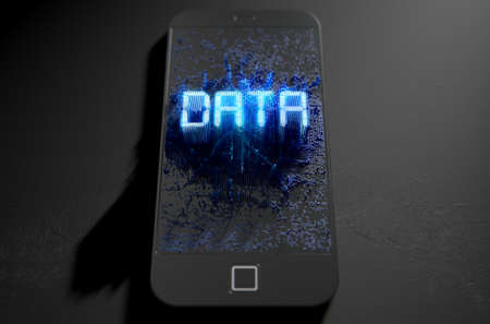 emanating: A 3D render of a modern generic smart phone screen emanating small pixels at random that build up to form and illuminate the word DATA