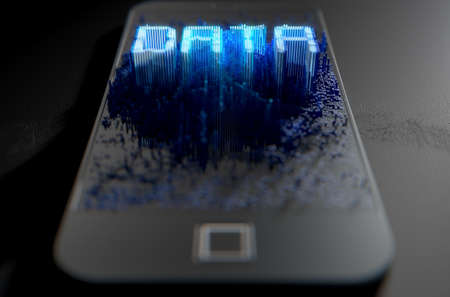 build up: A 3D render of a modern generic smart phone screen emanating small pixels at random that build up to form and illuminate the word DATA