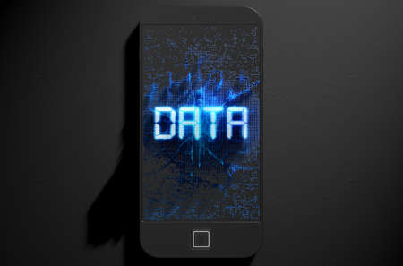 illuminate: A 3D render of a modern generic smart phone screen emanating small pixels at random that build up to form and illuminate the word DATA
