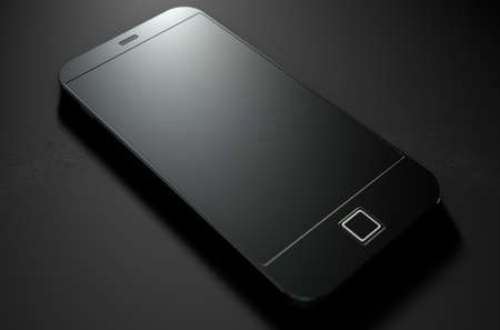 generic: A 3D render of a modern generic smart phone on an isolated dark background Stock Photo