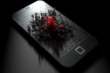 emanating: A 3D render of a modern generic smart phone screen emanating small red pixels at random that build up to form resemble a graph or infection