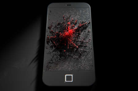 resemble: A 3D render of a modern generic smart phone screen emanating small red pixels at random that build up to form resemble a graph or infection