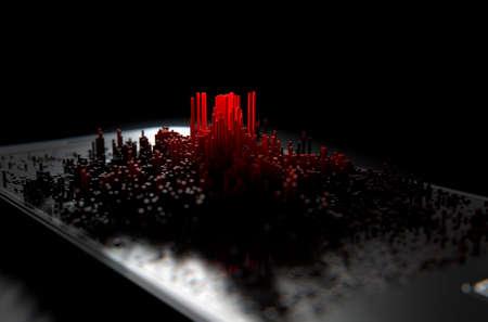 Un rendu 3D d'un écran de téléphone intelligent générique moderne émettant de petits pixels rouges au hasard qui se forment pour ressembler à un graphique ou une infection Banque d'images - 64336731