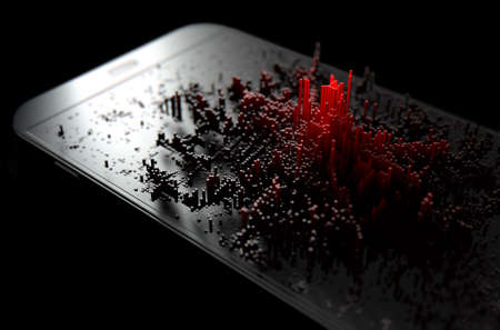 A 3D render of a modern generic smart phone screen emanating small red pixels at random that build up to form resemble a graph or infection