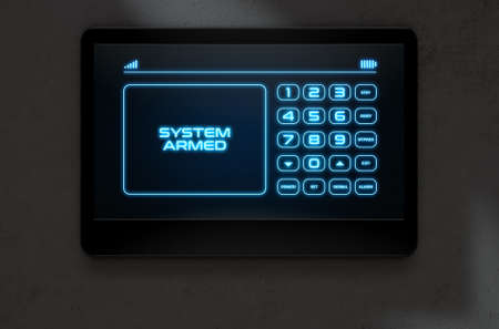 touch screen: A 3D render of a modern touch screen interactive home security keypad access panel with an illuminated digital numeric keypad and words that read system armed