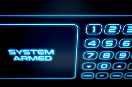 teclado numérico: A 3D render of a modern touch screen interactive home security keypad access panel with an illuminated digital numeric keypad and words that read system armed