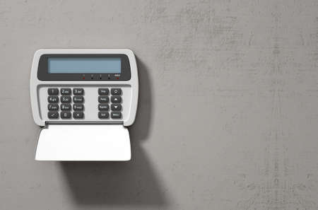 pin entry: A 3D render of a home security keypad access panel with buttons and a blank illuminated screen mounted on a wall Stock Photo