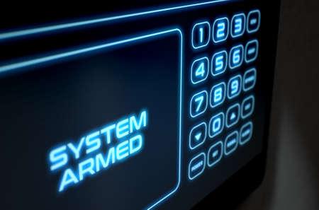 Een 3D-weergave van een modern interactief toetsenpaneel met aanraakscherm op het aanraakscherm met touchscreen, een verlicht digitaal numeriek toetsenblok en woorden die het systeem bewapenen Stockfoto