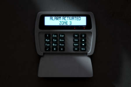 detection: A 3D render of a home security keypad access panel with buttons and an illuminated screen displaying a break in or security breach