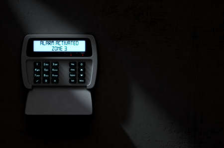 A 3D render of a home security keypad access panel with buttons and an illuminated screen displaying a break in or security breach