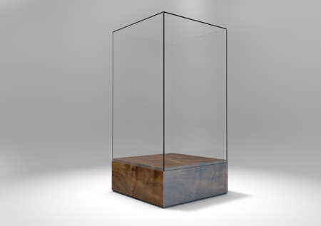 show case: A 3D rendering of an empty glass display case  with a wooden base on an isolated white studio background