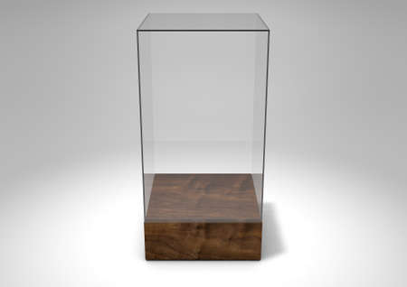 market bottom: A 3D rendering of an empty glass display case  with a wooden base on an isolated white studio background
