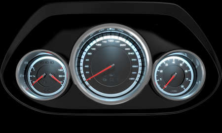gas meter: A 3D render of a sporty car dashboard with a speedometer petrol and temperature gauge with a rev counter on an isolated black background