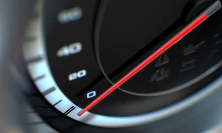 A 3D render of a regular speedometer with a red needle and warning signals on an isolated black background