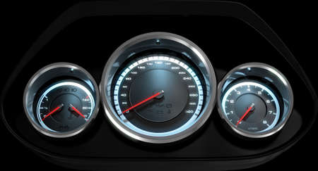 rev counter: A 3D render of a sporty car dashboard with a speedometer petrol and temperature gauge with a rev counter on an isolated black background