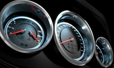 car dashboard: A 3D render of a sporty car dashboard with a speedometer petrol and temperature gauge with a rev counter on an isolated black background