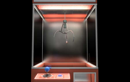 grabber: A 3D render of an empty arcade type claw grabber game on an isolated black background Stock Photo