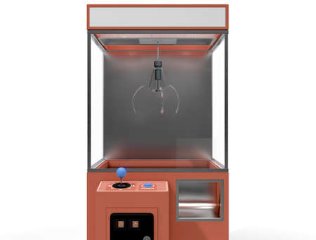 grabber: A 3D render of an empty arcade type claw grabber game on an isolated white background Stock Photo