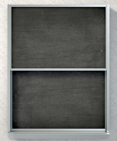ledge: A 3D render of a rectangular black chalkboard with a metal frame split into two sections with a wooden ledge chalk and a duster