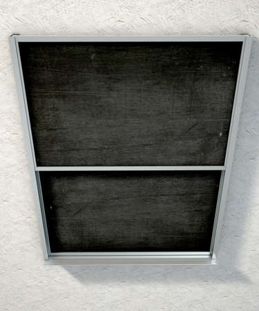 seperated: A 3D render of a rectangular black chalkboard with a metal frame split into two sections with a wooden ledge chalk and a duster