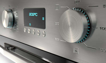 dials: A 3D render of a closeup of the dials of a modern stainless steel oven with illuminated lights and a digital screen Stock Photo